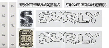 Surly Travelers Check Frame Decal Set with Headbadge: White