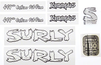 Surly Krampus Frame Decal Set with Headbadge: Black with White Fill