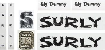 Surly Big Dummy Frame Decal Set with Headbadge: Black