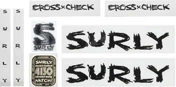Surly Cross Check Frame Decal Set with Headbadge: Black