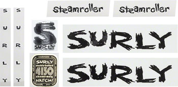 Surly Steamroller Frame Decal Set with Headbadge: Black