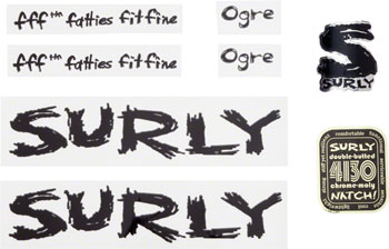 Surly Ogre Decal Set with Headbadge Black
