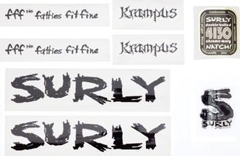 Surly Krampus Frame Decal Set with Headbadge, Black