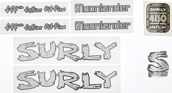 Surly Moonlander Frame Decal Set with Headbadge: Silver