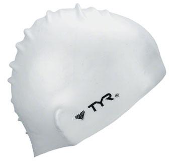 TYR Wrinkle-Free Silicon Swim Cap: White