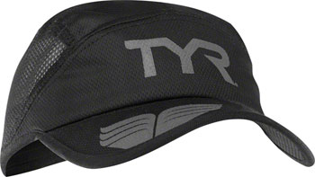 TYR Competitor Running Cap: Black/Gray One Size