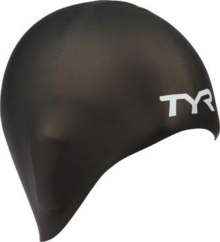 TYR Long Hair Silicon Swim Cap, Black
