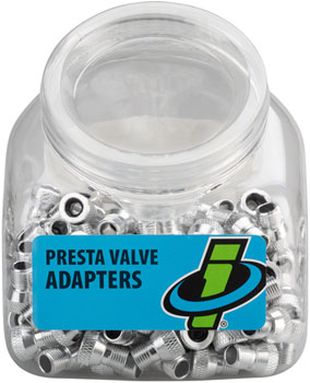 Genuine Innovations Alloy Presta Valve Adapters: Tub of 150