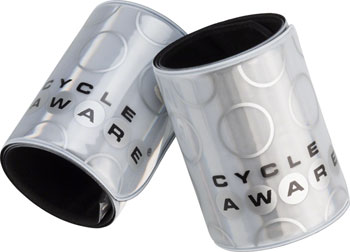 CycleAware Slap and Wrap Pant Leg Bands: Silver