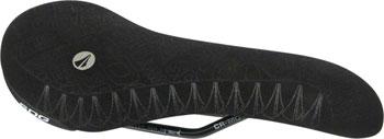 SDG Apollo Saddle: Chromoly Rails, 1pc Black Aramid Cover with Gray Silicone Gripping Logos