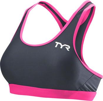 TYR Competitor Racerback Women's Bra: Gray/Pink SM