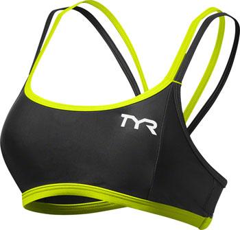 TYR Competitor Thin Strap Women's Bra: Black/Lime SM