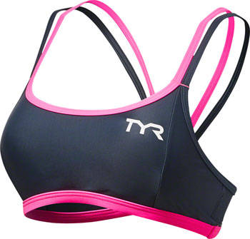 TYR Competitor Thin Strap Women's Bra: Gray/Pink MD