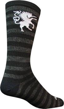 SockGuy Wool Medieval Unicorn Sock: Black/Gray SM/MD