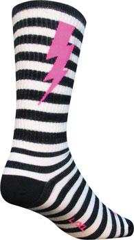 SockGuy Wool Lightning Sock: Black/White SM/MD