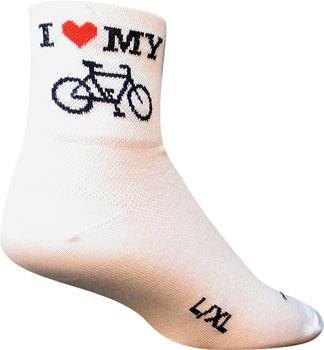 SockGuy Classic I Heart My Bike Sock: White SM/MD