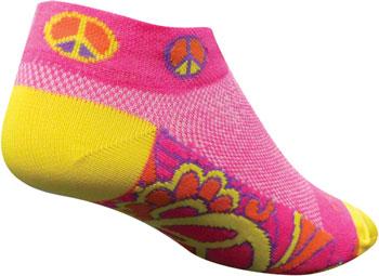 SockGuy Classic Groovy Women's Sock: Pink/Yellow SM/MD