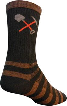 SockGuy Wool Trail Work Sock: Brown/Black SM/MD