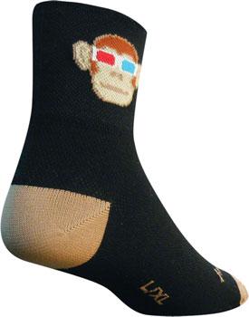 SockGuy Classic Monkey See 3D Sock: Black/Tan SM/MD