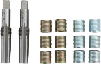 Unior Proprietary Pedal Tap and Thread Insert Set: 9/16, Brass/Silver