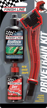 Finish Line Starter Kit 1-2-3, Includes Grunge Brush, 4oz DRY Chain Lubricant and 4oz EcoTech Degreaser