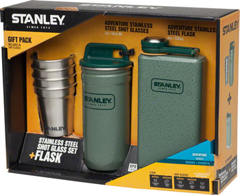 Stanley Adventure Steel Shots and 8oz SS Flask Set: Hammertone Green