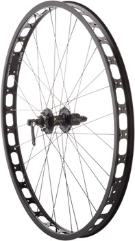 Surly Rabbit Hole Rear Wheel: 29+ QR x 135mm 0mm Offset Shimano 529 10/11 Speed Mountain Freehub, Black