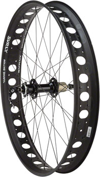 Quality Wheels Fat Rear Wheel 26 Novatec D102 / Surly Rolling Darryl 170mm QR and 177mm x 12mm Convertible All Black