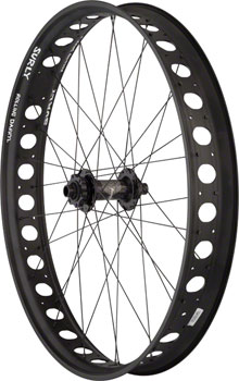 Quality Wheels Front Wheel Fat Disc 26 142mm x 15mm 32h Hope FatSno / Surly Rolling Darryl / DT Competition All Black
